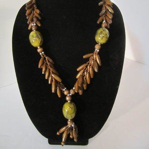 Long Earthy Boho Wood Bead Necklace ECLECTIC!